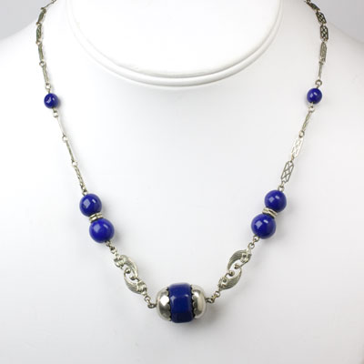 Necklace with blue beads & chrome