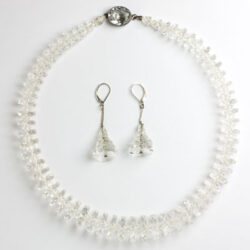 Art Deco bridal jewelry – crystal disk necklace & earrings
