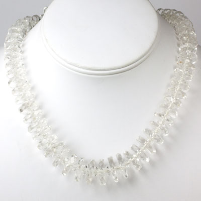 Necklace with faceted crystal disks