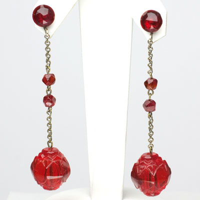 Art Deco ruby bead earrings with long pendants