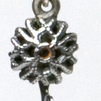 Close-up view of filigree disk