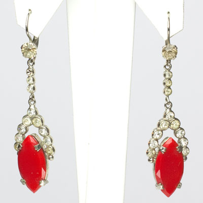 Red glass drop earrings with diamanté