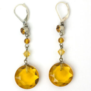 Art Deco earrings with citrine 'gumdrop' pendants