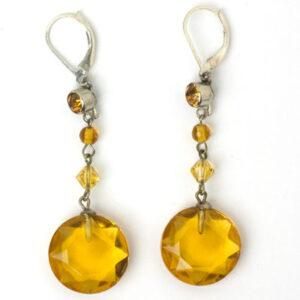 Art Deco earrings with citrine 'gumdrop' pendants