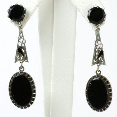 Black onyx drop earrings with enamel accents