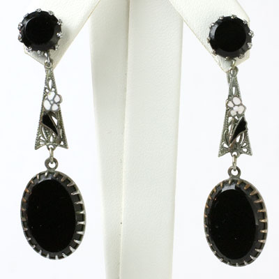 Black onyx drop earrings with enamel accents