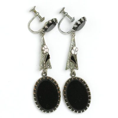 1920s onyx & enamel Czech earrings