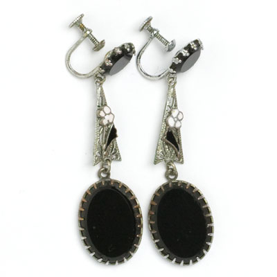 1920s onyx & enamel Czech earrings