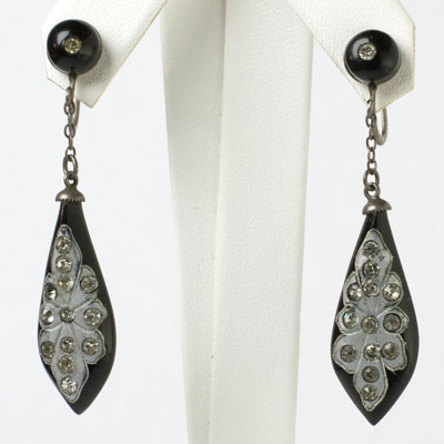 Black vintage Bakelite earrings with diamanté-inlaid pendants