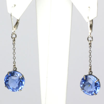 Art Deco sapphire earrings set in silver-tone