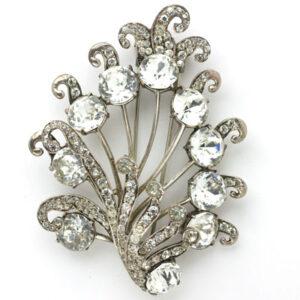 Flower dress clip in diamanté & sterling