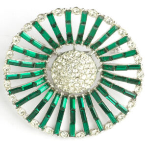 Sunburst brooch with emerald & diamante