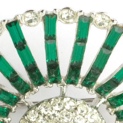 Close-up view of emerald baguettes