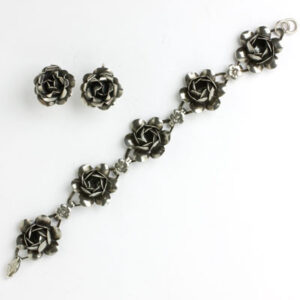 Coro earrings and bracelet with sterling silver flowers
