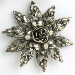 Richly-detailed sterling silver brooch
