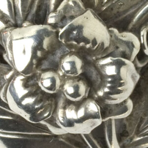 Close-up view of brooch front