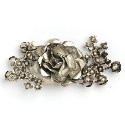 Sterling silver rose brooch by Hobé