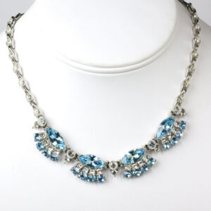 1950s Bogoff necklace with aquamarine & diamante