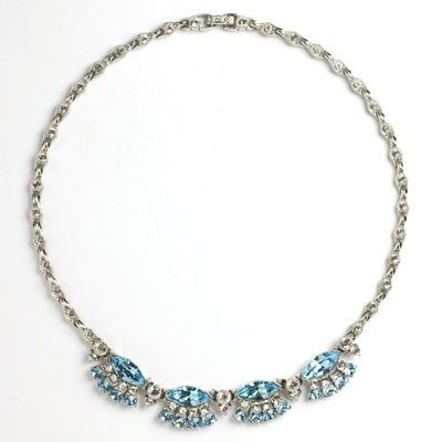 Aquamarine & diamante 1950s Bogoff necklace