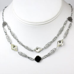 Art Deco swag necklace with onyx, diamante & filigree