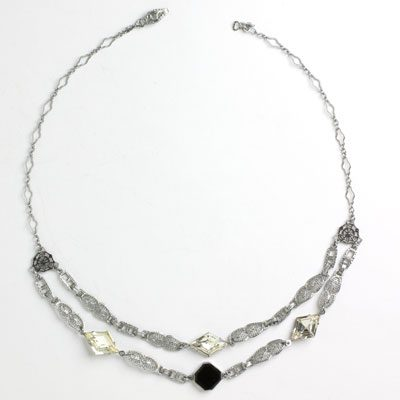 Front of Art Deco swag necklace