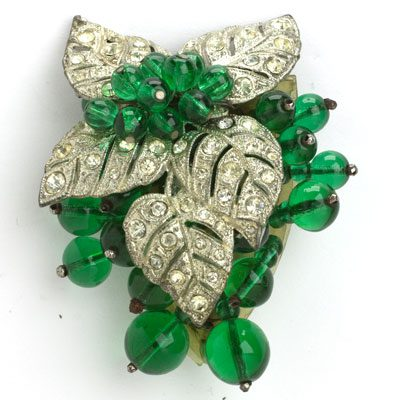 Frank Hess dress clip with emerald beads & pavé leaves