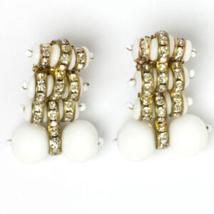 Miriam Haskell earrings with milk glass beads & disks