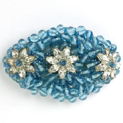 Beaded aquamarine brooch by Miriam Haskell