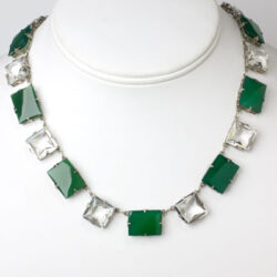 Chrysoprase green necklace w/alternating crystal chicklets