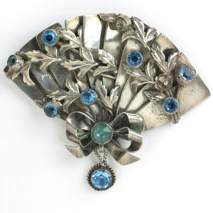 Fan brooch in sterling with aquamarines