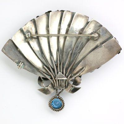 Back of hand-made sterling fan brooch