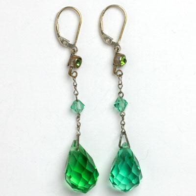 1920s green crystal pendant earrings