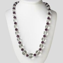 1920s necklace with amethyst & crystal beads