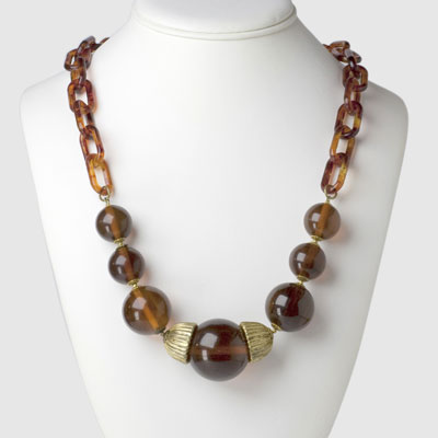 Tortoise shell link necklace by Miriam Haskell