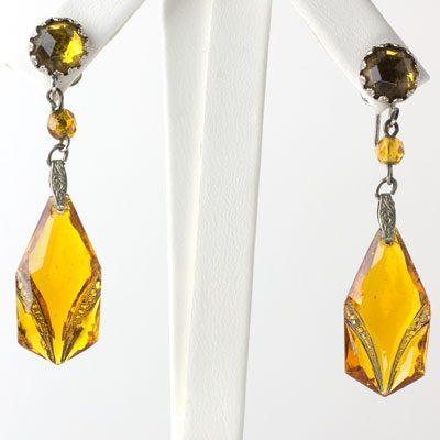 Citrine pendant earrings w/metal inlays