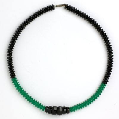 Full view of onyx & chrysoprase Art Deco necklace