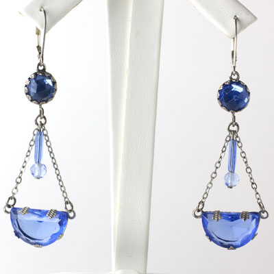 Faux sapphire earrings with dangles