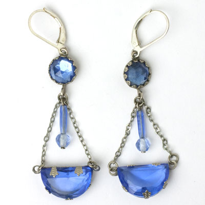 Faux sapphire Art Deco earrings