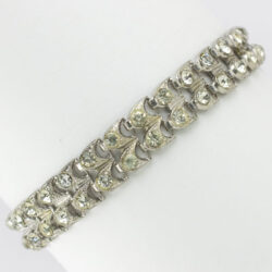 Double row bracelet in sterling w/diamanté