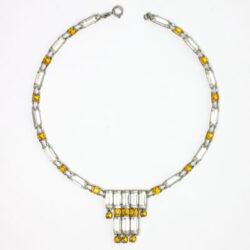 Citrine & crystal Art Deco tiered necklace