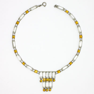 Citrine & crystal Art Deco tiered necklace