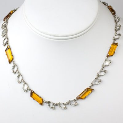 Chicklet necklace with citrine & crystal