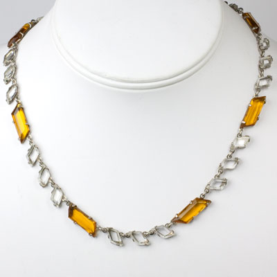 Necklace with citrine & crystal