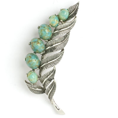 Boucher pin of silver leaves with turquoise buds