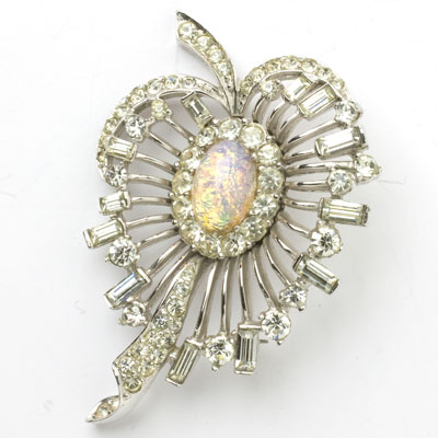 Boucher brooch with diamanté & opal art glass
