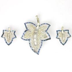 Trifari leaf brooch & earrings set