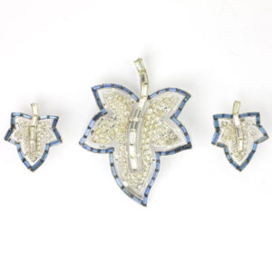 Trifari leaf brooch & earrings set
