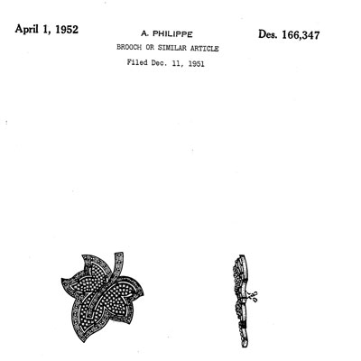 Design patent for Trifari leaf brooch