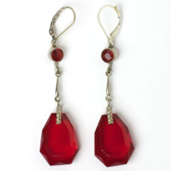 Front view of ruby pendant earrings