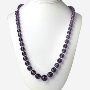 Vintage amethyst bead necklace w/crystal spacers